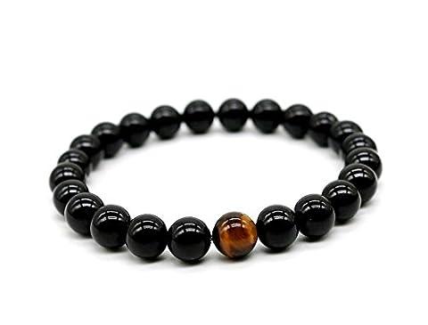 Bracelets Pearls 10mm Round Black Onyx and Tiger's Eye Stud Unisex