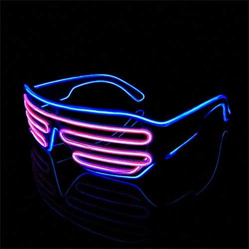(Lerway Weißen Rahmen 2 Farbe EL Wire Leuchtbrille LED Drahtbrille Brillen + Voice Control Box für Weihnachten Tanzen Party Nacht Pub Bar Klub Rave (Rosa + Blau))
