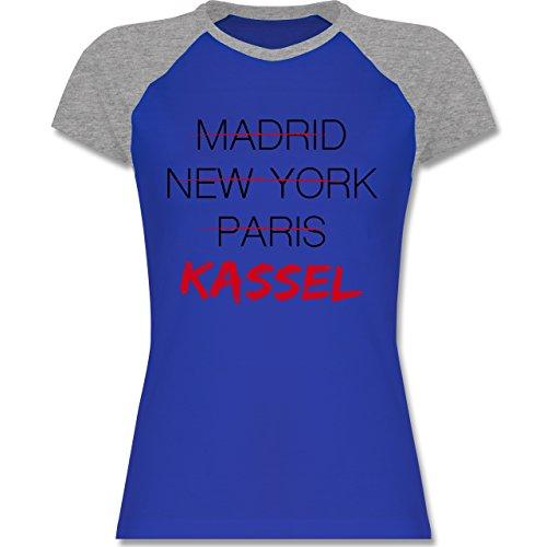 Städte Weltstadt Kassel zweifarbiges Baseballshirt / Raglan TShirt für Damen  Royalblau/Grau meliert