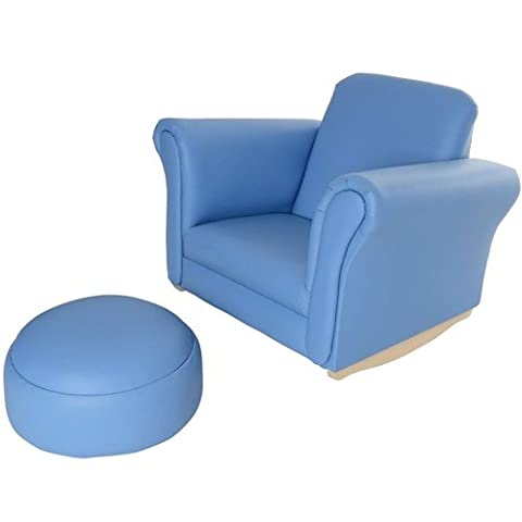 Childrens Kids Rocking Chair Seat Armchair Sofa with Foot Stool PU Leather NEW (Blue)