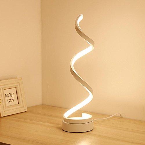 Lampada da tavolo,lampada da modellismo led acrilico creativo da 24w lampada a led ad arco, lampada a spirale a led, design moderno e minimalista, camera da letto soggiorno studia bianco e oro , button switch