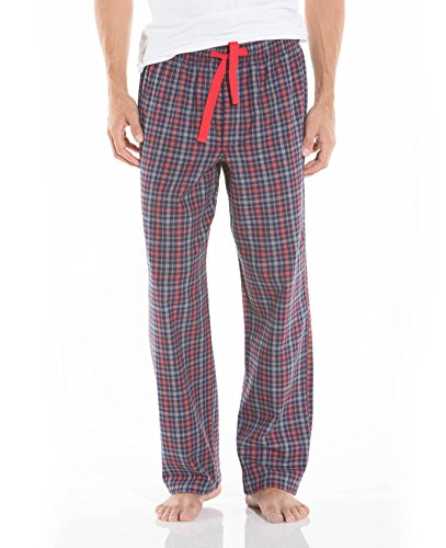 Savile Row Men's Grey Blue Red Check Lounge Pants Grey Blue Red