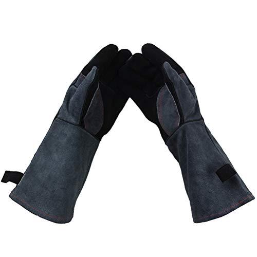 Leder Schweißhandschuhe, Hitzebeständigkeit Anti-Scratch Cut Resistant Perfekte Handschuhe für Kamin, Ofen, Ofen, Grill, BBQ,Tier Handhabung Cut Resistant Leder