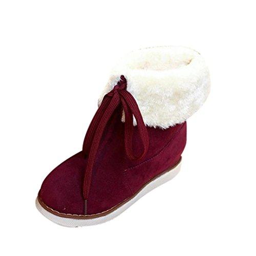 Botas De Nieve De Tobillo De Mujer, Botas De Invierno De Somesun Botas De Cordones De Mujer Botas De Nieve De Tobillo Caliente