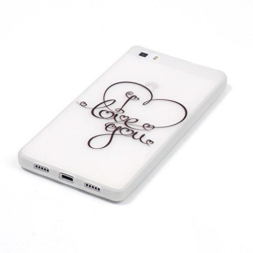 CaseHome Huawei P8 Lite Luminous Hülle (Mit Frie Displayschutzfolie) Leuchtende Silikone Rückhülle Für iPhone 6 6s Plus 5.5 Zoll Zoll Silikon Etui Handy Hülle Weiche Transparente Luminous TPU Back Cas Ich liebe dich