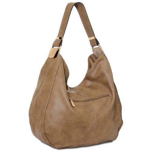 CASPAR Damen Tasche / Schultertasche mit schönem Metallelement - viele Farben khaki
