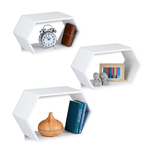 Relaxdays 10021899_46 set 3 mensole da parete esagonali, per soggiorno, cameretta, legno mdf, con materiale montaggio, bianco