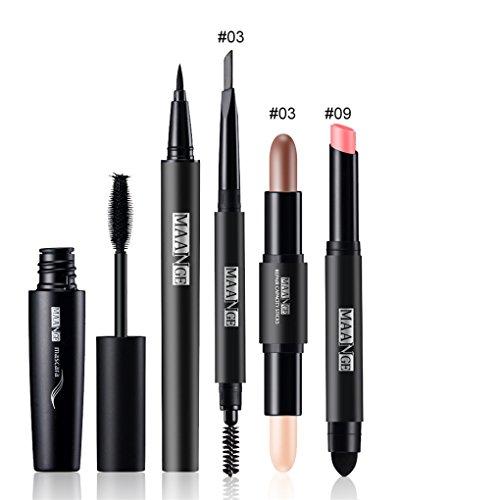 FantasyDay® 5Pcs Palette de Maquillage Kit de Maquillage Set de Maquillage Fêtes Cosmetic Kit Ombre à Paupières Comprenant Mascara, Eyeliner, Crayon à Sourcils, Rouge à Lèvres et Correcteur Stick #3