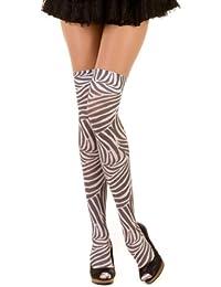 Hotlook Gemusterter Overknee Zebra Muster Hotlook, schwarz/weiss (black/white), Einheitsgroesse (Onesize)