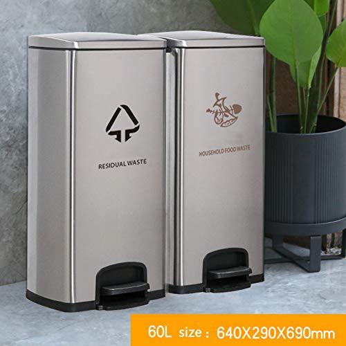 Klassifizierung Dual-fach Mülleimer,mit Deckel Papierkorb-lagercontainer Zum Recycling Eingestuft Für Küche Office Draußen-a 64x29x69cm(25x11x27inch)