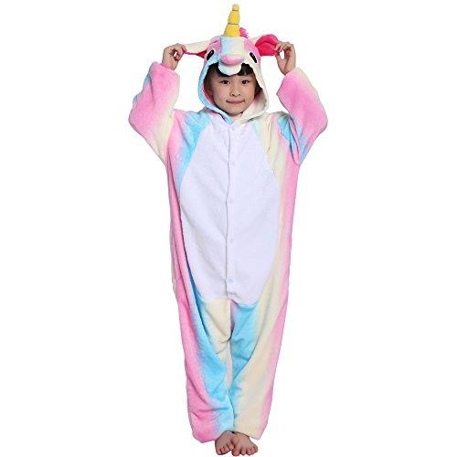 Einhorn Kostüm Pyjama Kinder Tier Karton Kostüm Tier Schlafanzug Tieroutfit Jumpsuits Overall Nachtwäsche mit Kapuze Flanell Fastnachts kostüm Kleidung Halloween Karneval für Mädchen (Kostüme Kapuze Die)