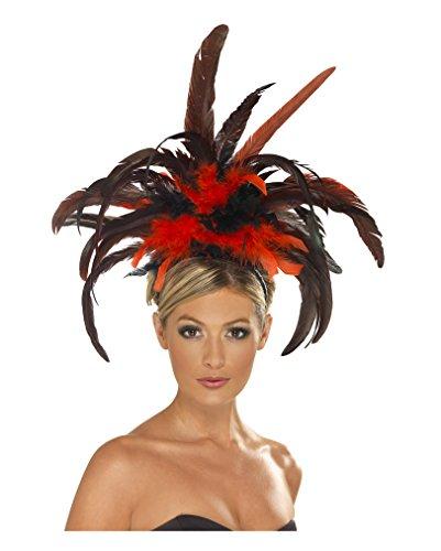 Showgirl Haarreif mit rot-schwarzen Federn