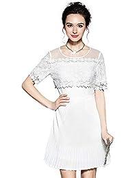 Vestiti Donna Eleganti Ragazza Invernali di Moda Stampato in Pizzo Giuntura  Chiffon delle Abiti Cerimonia Vestito 9964978f173