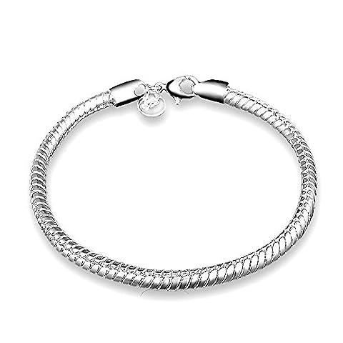 Kangqifen Schmuck Damen-Armband,Galvanisieren 925 Silber Schlangenkette Armschmuck,Breite 4mm - Länge 20cm