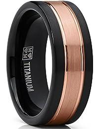 Ultimate Metals Co. Herren Rosa und schwarz Gebürstet Titan Verlobungsring und Eheringe, Rille. Bequemlichkeit Passen