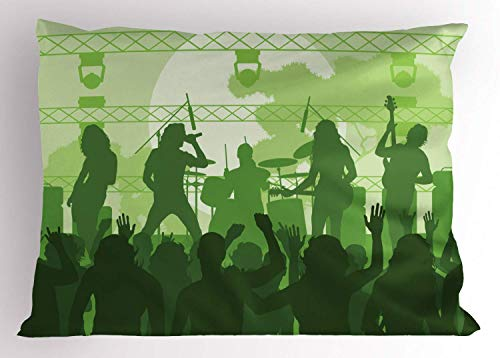 HFYZT Music Pillow Sham, Rock Concert Concept Band Performing on The Stage and Singing Festival, Decorative Standard Queen Size Printed Kissenbezug Pillowcase, 18 X 18 inches, Green Dark Green Green