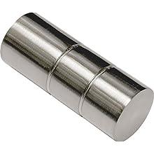 GARDINIA Curtain Rod Finials, 2 x Cylindrical Finials, Windsor Series, Metal, Stainless Steel, Ø 25 mm