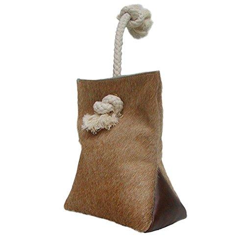 Preisvergleich Produktbild Türstopper aus Kuhfell und Leder hellbraun mit Kordel 23x18 cm, ca. 1,5 kg, Türsack, Türpuffer