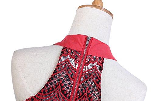 Leezeshaw Damen Kleid Rot