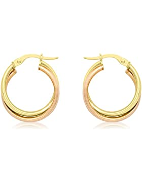 Carissima Gold Damen-Creolen 9ct 2 18mm Double Crossover Hoop Creole Earrings 375 Bicolor - 2.51.0849