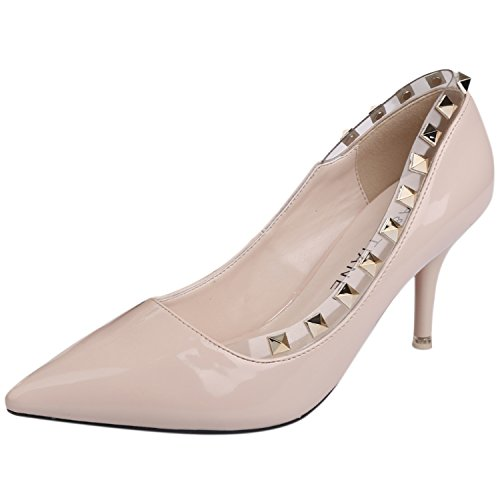 Oasap Women's Pointed Toe Stiletto Slip-on Rivet Pumps apricot