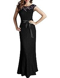Miusol® Damen Elegant Cocktailkleid Rückenfrei Brautjungfer Spitzen Kleid Fishtail Langes Abendkleid Schwarz/Rot Gr.36-50