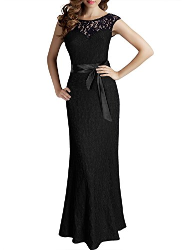 Miusol Damen Kleid aus Spitzen Rundhals Rueckenfrei Brautjungfer Cocktailkleid Fishtail Langes Abendkleid Schwarz Groesse XL