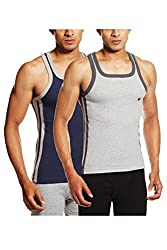 ONN NS524 Mens Cotton Multi Colour Sports Vest Pack of 2 (Large)