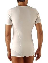 Relaxsan Ortopedica 1200D T-shirt thermique à manches courtes homme avec ceinture lombaire élastique - double tissu en laine et coton