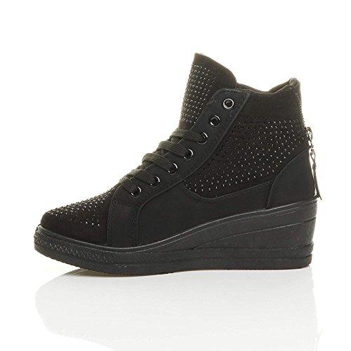Donna medio cuneo piattaforma catena stivaletti scarpe ginnastica alte taglia Nero / Nero Strass