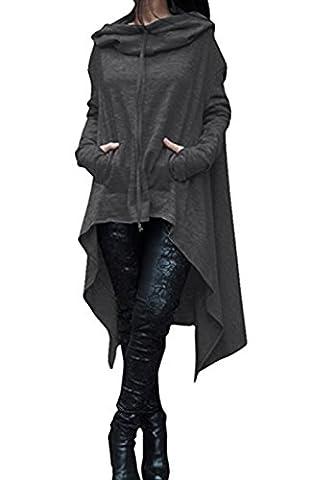 ASSKDAN Damen Casual Langarm Unregelmäßige Pullover mit Kapuzen Sweatshirt Tunika Bluse Oversize Minikleid (M,