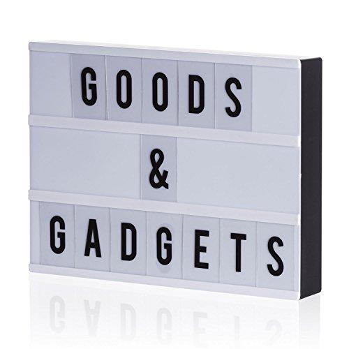Boîte à lumière LED Blockbuster Letter Box Lightbox avec 204 lettres flexibles ; alimentation USB