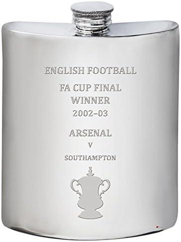 ILuv Arsenal English Pewter Fa Cup Winner 2002–03, 6oz Pewter English Hip Flask 1590e6