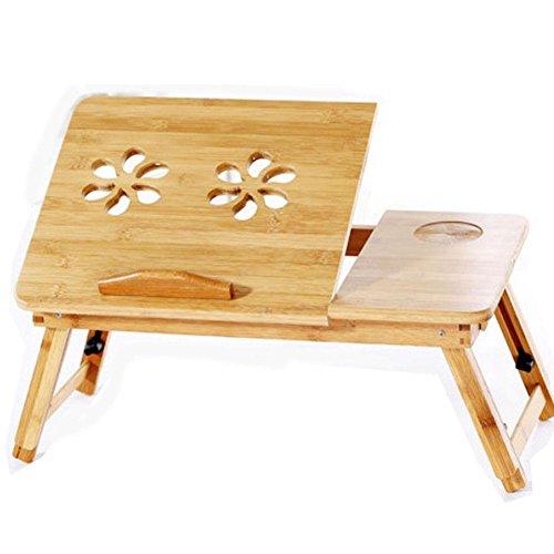 Bambus Holz faltbare Schreibtisch für Bett Schlafzimmer Wohnzimmer Schreibtisch Schreibtisch mit Lüfter , wooden Gaming-hutch