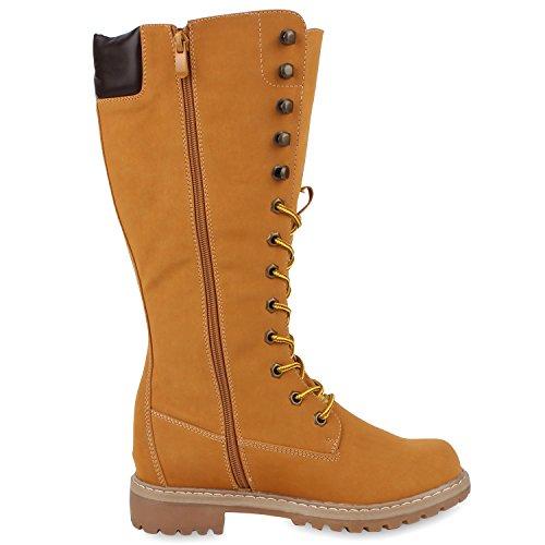 Damen Stiefel Worker Boots Profilsohle Schnürstiefel Hellbraun