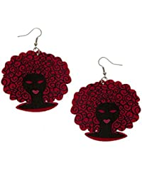 Anuradha Art Pink Colour Lady Face Printed Style Party Wear Wooden Long Earrings For Women/Girls