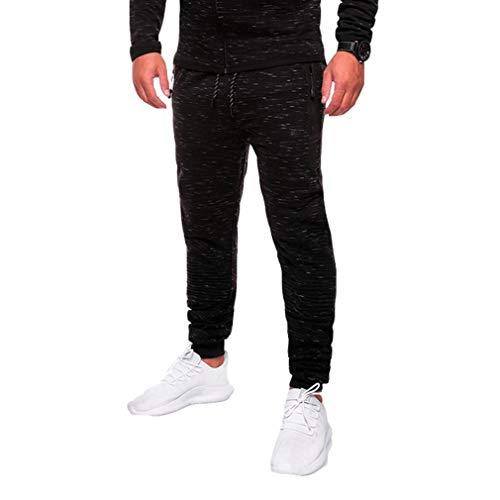 Junkai pantaloni da jogger da uomo pantaloni da palestra per il fitness pantaloni da ginnastica pantaloni aderenti da allenamento pantaloni sportivi da jacquard bottom neri 2-only xl