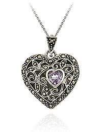 Sterling Silver Marcasite and Amethyst Filigree Heart Locket Pendant