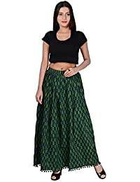 Fabcolors Smoothy And Silky Block Printed Cotton Long Skirt With Bottom Pom Pom Art Work (Green)