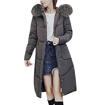 MCYs Damen Winter Baumwollkleidung Pelzkragen Outwear Reißverschluss ... 0549c363f2