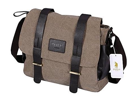 VIDENG POLO Mens Messenger Bag Vintage Canvas Duffel Bag Shoulder Bag Gym Bag Travel Handbag