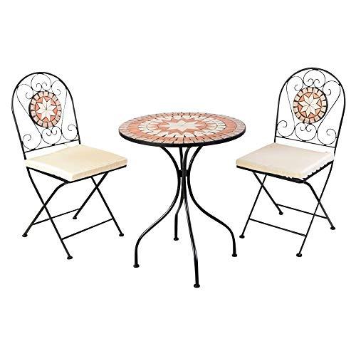Mosaik Bistro Stuhl (Bistro-Set Balkon-Set Eisen Mosaik Klappbar)