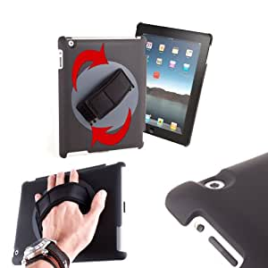 High Quality Handheld Rotating Holder Case For Apple iPad 4, iPad 3 & iPad 2 With Adjustable Hand Strap - Perfect For Commuting On The Train or Teaching! - by DURAGADGET