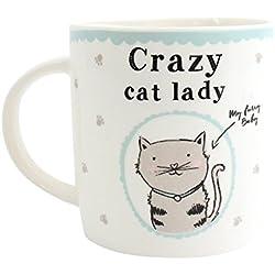 """Taza, diseño con gato, inscripción """"Crazy Cat Lady"""", con caja"""