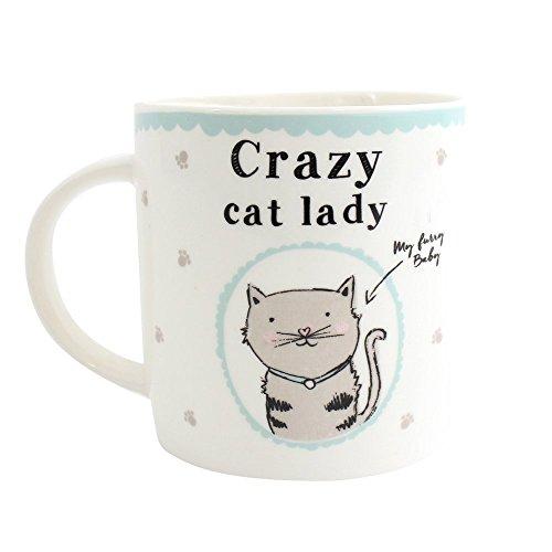 Taza, diseño con gato, inscripción 'Crazy Cat Lady', con caja