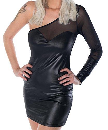 HO-Ersoka Damen Mini-Kleid Wetlook Party-Dress Frauen Lack Clubkleid asymmetrisch mit transparentem Stoff schwarz XS-S
