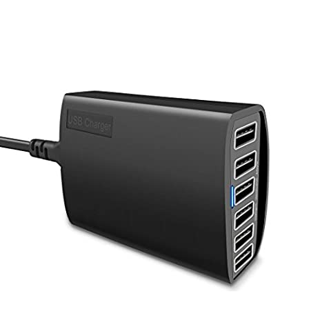 WOSUK USB Charger 60W 6 Port USB Wall Charging Hub, High Speed with PowerSmart Technology Desktop Travel Charger Compatible with iPhone 6 / 6 Plus, iPad Air 2 / mini 3, Samsung Galaxy S6 / S6 Edge and More