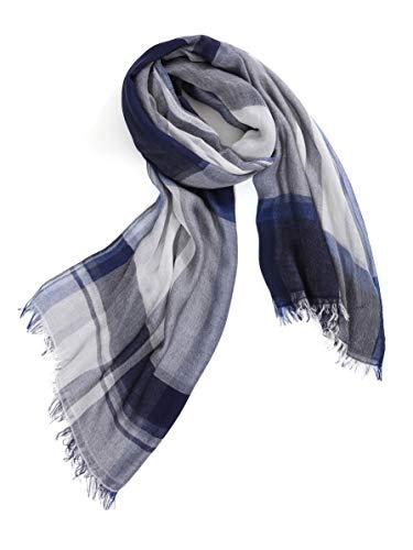 Prettystern - sciarpa di seta xl con modal share sciarpa estiva con frange a quadri da uomo e da uomo t58 blu scuro