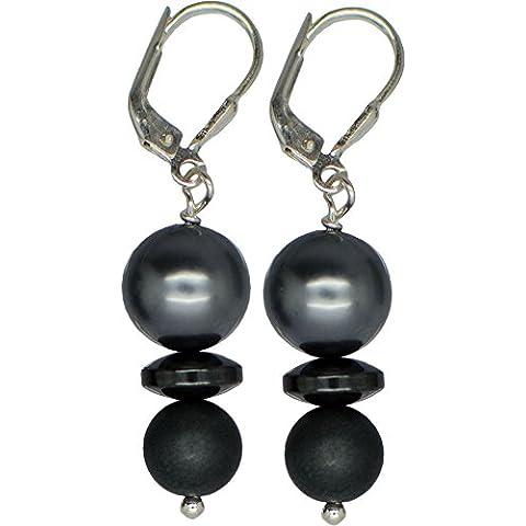 I de Be, núcleo de conchas perlas, amatistas piedra preciosa Pendientes 925plata, longitud 4,2cm, en estuche de regalo, 384115231123