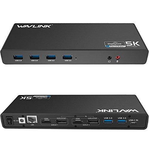 Wavlink Universal USB-C Ultra 5K Docking Station mit 4K Video Dual Outputs und unterstützt Windows Vista/7/8/8.1/10? C in, DP und HDMI, Gigabit Ethernet, Audio out und Mic In, 6USB 3.0Ports)